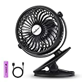 SkyGenius Battery Operated Clip on Mini Desk Fan, Black