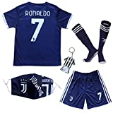 BIRDBOX Youth Sportswear No 7 Kids Home Soccer Jersey/Shorts Bag Keychain Football Socks Set (Black,...