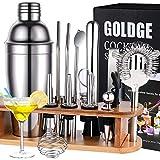 GOLDGE Shaker à Cocktail, Shaker Cocktail Professionnel en Acier Inoxydable, Lot de 17, Cocktail Shaker 750ml Kit Barman avec Support en Bois et livre de Cocktails