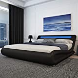 Amolife Upholstered Queen Bed Frame with Adjustable LED Lights Headboard/Deluxe Solid Modern Platform Bed with Slat Support/Low Profile Curved Faux Leather Bed Frame/Mattress Foundation,Black