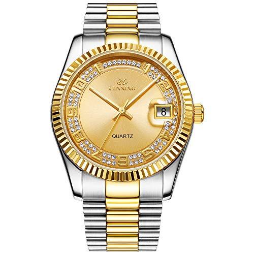 BUREI Herren Uhren Quarz Armbanduhr japanische Quarzwerk kratzfestes Synthetisches Saphirglas Edelstahl Band (Silber Gold 2)