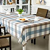 OstepDecor Waterproof Tablecloth 60 x 120 Inches Polyester Decorative Table Top Cover for Kitchen Dining Room End Table Protection, Rectangle/Oblong, Blue