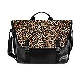ALAZA Jaguar Cheetah Animal Skin Leopard Colored Messenger Bag 15.6 Inch Waterproof Canvas Briefcase
