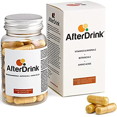 AfterDrink combines the power of 4 nutrient categories. Functions as an antioxidant blend. Free from all medicines and stimulants Manufactured in the USA Take 3 capsules before going out and 3 before bed with a full glass of water