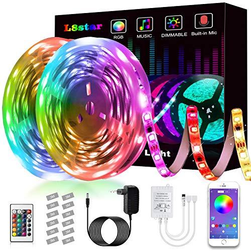 LED Strip, L8star LED Streifen Farbwechsel Led Lichterkette 10m/32.8ft RGB Flexible LED Bänder Strips mit Bluetooth Kontroller Sync zur Musik, Anwendung für Schlafzimmer, Party und Feriendekoration