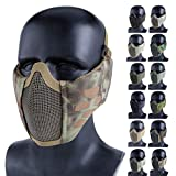 Aoutacc Foldable Airsoft Mesh Mask, Half Face Mesh Masks with Ear Protection for CS/Hunting/Paintball/Shooting (MA)