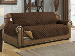 Le Benton Reversible Sofa Cover, Quilted Pet Couch Slipcover, Elastic Strap, Machine Washable - Brown/Taupe