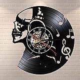 wtnhz LED-Música Calavera Auriculares decoración del hogar Disco de Vinilo Reloj de Pared DJ música Rock Calavera Reloj de Pared Fiesta de Halloween Reloj Movimiento silencioso