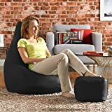Aart Store Classic XXXL with Footstool Filled Bean Bag with Beans - Black