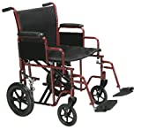 Drive Medical Bariatric Heavy Duty Transport Wheelchair   Swing-Away Footrest with 20-Inch seat   Red