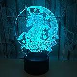 7 colores 3d luz de noche crack 3d luz de noche de visión estéreo para decoración de sala de estar regalo para niños
