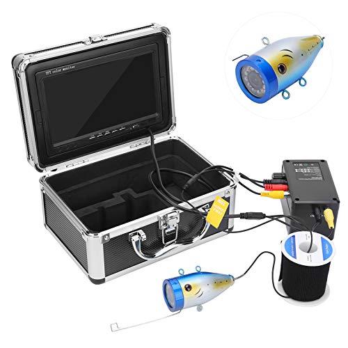 Videocamera per pesca subacquea da 7 pollici con ecoscandaglio 1000TVL HD con 12 LED, cavo da 30 m/98,4 piedi, per acquacoltura, oceano/lago/pesca(ME)