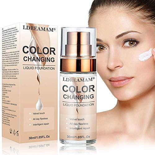 Flüssige Grundierung,Flüssiges Make-Up,Concealer-Abdeckung,Langlebige flüssige Grundierung,Make-up-Basis,Makellose Farbwechselgrundierung 30ML
