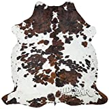 Tricolor Cowhide Rug Classic Brown, Black and White Color Mix, Natural Leather Hide, Area Rug (6x7ft)