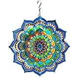 LJLIFART Wind Spinner Mandala Blossom 12 inch 3D Stainless Steel Worth Gift Laser Cut Hanging Wind Spinners Metal Kinetic Yard Art Decorations Indoor/Outdoor Décor