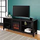 Walker Edison Furniture Company Minimal Farmhouse Wood Fireplace Universal Stand for TV's up to 80' Flat Screen Living Room Storage Shelves Entertainment Center, 70 Inch, Black