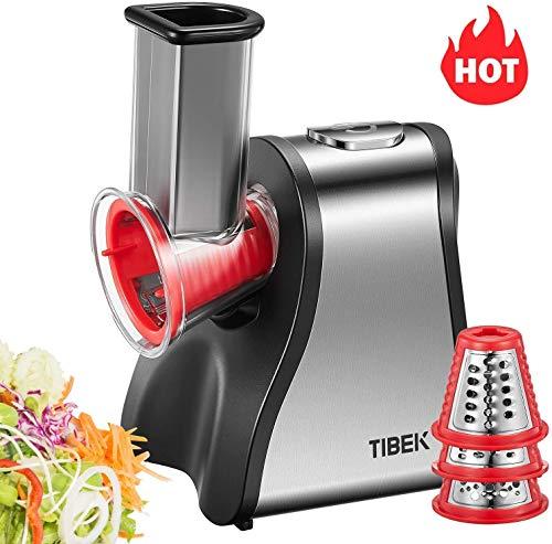 TIBEK Tritatutto da Cucina Elettrico 200W Grattugia Elettrica con 5 Accessori e Ampio Tubo di...