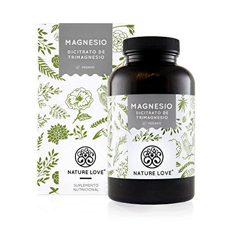 NATURE LOVE® Magnesio - 1500 mg citrato de magnesio, de ello 240 mg magnesio elemental por dosis diaria. 180 cápsulas. Controlado en el laboratorio. Vegano, alta dosis, elaborado en Alemania.