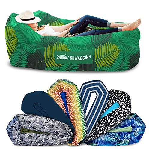 Chillbo Shwaggins Inflatable Couch  Cool Inflatable Chair. Upgrade Your Camping Accessories. Easy Setup is Perfect for Hiking Gear, Beach Chair and Music Festivals. (A Green Leaf)