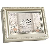 Cottage Garden 25th Anniversary Silvertone Rope Trim Jewelry Music Box Plays Unchained Melody