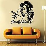 Vinilo maquillaje labios ojos salón de belleza decoración niña mujer pared decoración de salón de belleza
