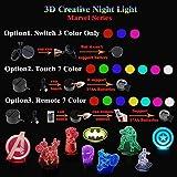 tzxdbh Série de Jeux Little Night Light Scar 3D Light 7 Colorleagues: Endgame Prelude Spider Man Captain Model Chevet Plugchildren'S Gifts for Baby Bedroom Decoration