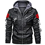 Gxeb Faux Leather Bomber Jacket for S.Uz_UK.I-S Haya_Busa Printed with Removable Hood Windbreaker Racing Coats Sport/Black/XXXL