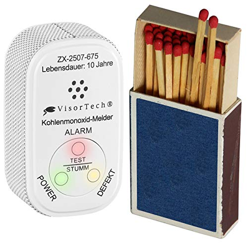 VisorTech CO Warner: Mini-Kohlenmonoxid-Melder mit 10-Jahres-Batterie, DIN EN 50291-1 (CO Messgerät)