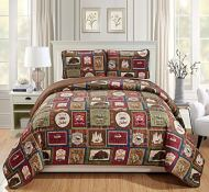 Rugs 4 Less Southwestern Great Outdoors Wilderness Cabin Lodge and Lakehouse 3-Piece Quilt Bedding Set with Plaid Patterns and Outdoor Destination Signs Quilted Bedspread (Full/Queen - Lodge)