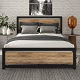 SHA CERLIN Full Size Bed Frame with Modern Wooden Headboard / Heavy Duty Platform Metal Bed Frame with Square Frame Footboard & 12 Strong Steel Slat Support / No Box Spring Needed,Brown