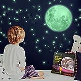 Luminoso Pegatinas de Pared Luna y Estrellas, Fluorescente Decoración de Pared...