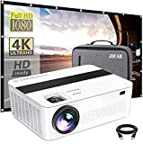 Bluetooth Native 1080p Projector with 120'' Projector Screen & a Bag,9000 Lux 4k Projector for...