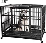 ITORI Heavy Duty Metal Dog Cage Kennel Crate and Playpen for Training Large Dog Indoor Outdoor with Double Doors & Locks Design Included Lockable Wheel Removable Tray