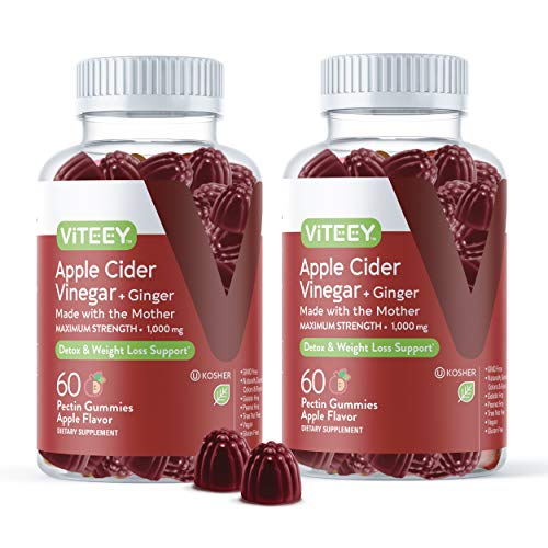 Apple Cider Vinegar Gummies Maximum Strength 1,000mg Plus Ginger, ACV With The Mother Dietary Supplement, Supports Immune Health, Detox, Cleanse, Weight loss & Digestion-Pectin Gummy [60 Count-2 Pack] 1 - My Weight Loss Today