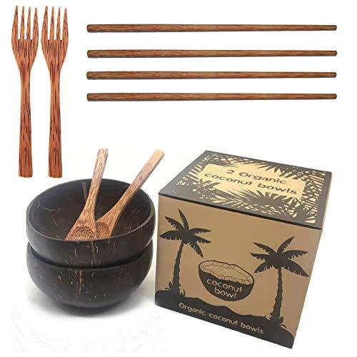 Coconut Bowl Set Coconut Bowl and Spoon Chopsticks Coconut Bowl Cutlery Wooden Handmade Bowls Natural Breakfast Decorative Bowl Salad Bowl Vegane Buddha Ice Cream Bowl Cereal Fruit Yogurt