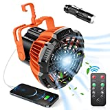 Portable Camping Fan for Tent, Ezire USB Rechargeable with Emergency Light, Battery Operated Desk Fan with Small flashlights for Outdoor Home Office Car