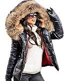 Roiii Women Winter Warm Down Jacket Ladies Thick Slim Flash Forward Short Coat Down Outdoor Hood Parka Short Slim Jacket (XXL, Black Brown Fur)