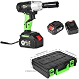 1/2 Inch Cordless Electric Impact Wrench, Rechargeable Gun Drill Tool, 4 Socket(0.55, 0.67, 0.75, 0.87 inch), 2 x 21V Lithium Battery, 6.0Ah Fast Charge (green)