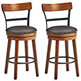 COSTWAY Bar Stools Set of 2, 360-Degree Swivel Stools with Leather Padded Seat, Single Slat Ladder Back & Solid Rubber Wood Legs, Counter Height Stools for Pub, Restaurant, Kitchen, Brown (2, 25.5)