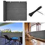 shsyue Balcony Cover Privacy Filter Weather-Resistant Wind Screen Anthracite UV Protection Balcony Covering with Cable Ties (3'x16.4')