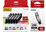 Genuine Canon CLI-281 5-Color Ink Tank Combo Pack with 5 x 5' Photo Paper (2091C006) + Canon PGI-280 XL Pigment Black Ink Tank (2021C001)