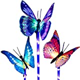 Garden Solar Lights Outdoor, 3 Pack Solar Stake Lights Multi-Color Changing LED, Fiber Optic Decorative Lights with a Purple LED Light Stake (Solar Lights Outdoor)