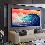 wZUN Cartel de Arte de Onda ondulante Colorido de Gran tamaño Imagen de Paisaje Moderno Arte de Pared Sala de Estar Pintura de Lienzo de Pared 50x85 cm