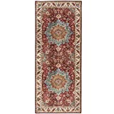 ReaLife Machine Washable Rug - Stain Resistant, Non-Shed - Eco-Friendly, Non-Slip, Family & Pet Friendly - Premium Recycled Fibers - Distressed Vintage Medallion - Brick Red, Blue, Beige, 2'6' x 6'
