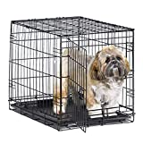 New World 24' Folding Metal Dog Crate, Includes Leak-Proof Plastic Tray; Dog Crate Measures 24L x 18W x 19H Inches, For Small Dog Breed
