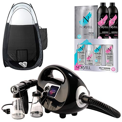 Naked Sun Black Fascination Spray Tan Machine and Norvell Sunless Airbrush Tanning Solution with Disposable Adhesive Feet and Extra Large Professional Black Pop Up Tent Bundle (5 Items)