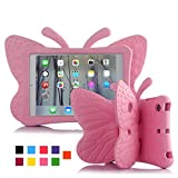 iPad case for Kids, Feitenn 3D Cartoon Butterfly Non-Toxic EVA Light Weight Kid Proof Shockproof case with Kickstand for ipad 5/ ipad 6 /ipad pro 9.7/ New iPad 2017 case (Pink)