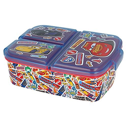 CARS | Caja de Almuerzo con 3 Compartimentos - Fiambrera Infantil para colegio - lonchera para niños