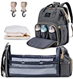 3 in 1 Diaper Bag Backpack Portable Baby Bed Changing Bags Fodable Baby Crib with Changing Pad(Grey)