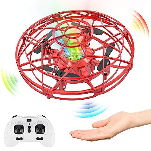 Baztoy Mini UFO Drone, Giocattoli per Bambini 3 4 5 6 7 8 Anni Elicottero Quadricottero telecomandato RC Drone Palla Volanti Compleanno Regali Ragazzi Ragazze Giocattoli da Giardino Interni (Rosso)